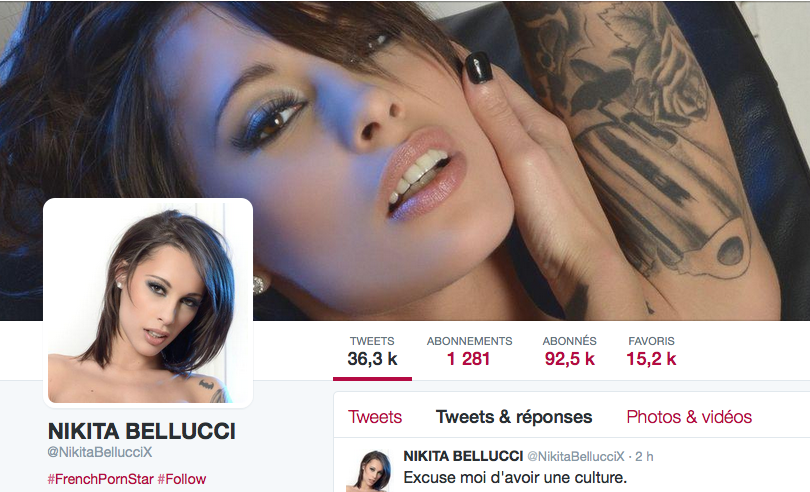 Nikita Bellucci Twitter Front Page